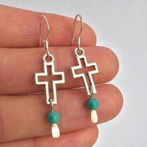 Silver Cross Vintage Turquoise dangle Earrings